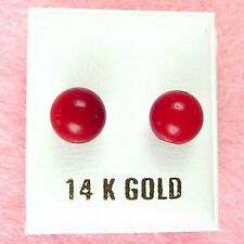 14K White Gold - 8mm Red Coral Ball Stud Earrings (GE383)