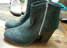 WOMENS new TG SUEDE GRAY ANKLE BOOTS booties SIZE 7.5  sz 7 1/2 dark grey heels