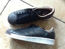 RARE ADIDAS SUPERSTAR 80s ORIGINALS BLACK ROSE SNAKE TOE TRAINERS UK5 NEW