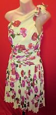 ~~ALBERTA FERRETTI Macy's Stunning One Shoulder Floral Chiffon Dress Sz 8~~