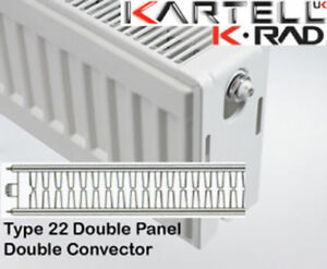 Kartell K-Rad Double Panel Type 22 Compact Radiator 600mm High- various widths
