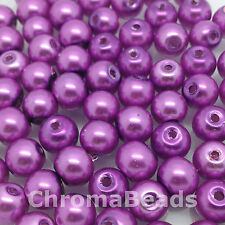 6mm Glass faux Pearls - Mauve - 100 beads, jewellery making