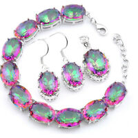 Woman Fashion Jewelry Set Rainbow Mystic Topaz Silver Bracelet Pendant Earrings