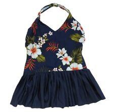 Delta Burke 20W Swimsuit One Piece Halter Top Skirt Bottom Bathing Blue Floral