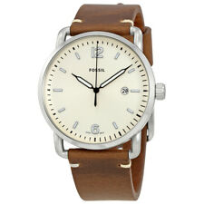 Fossil The Commuter Silver Dial Brown Leather Mens Watch FS5275
