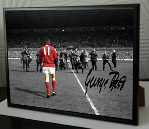 GEORGE BEST MAN UTD Framed A4 Canvas Tribute Limited Edition Print  Signed