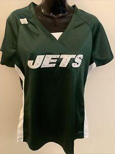 NY JETS NFL Draft Me WOMENS V-Neck Jersey T shirt Large short sleeve NWT Green