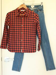 Boys Country Road size 12 Gingham Cotton Flannel Shirt & Denim Jeans Outfit