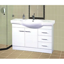 Bathroom Freestanding 1200mm Vanity Unit Cabinet Ceramic Basin Drawers doors NEW