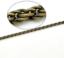 1m Chaine chainette Bronze 3mm maillon vague, twist, tresse creation Bijoux