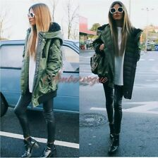 ZARA NEW KHAKI GREEN  FAUX FUR HOOD  COAT JACKET SIZE S 8