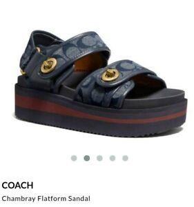 COACH Chambray Leather Flatform Sandals UK size 5