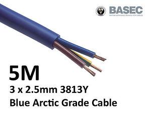 5M Arctic Blue 3183Y Flex Cable 3core x 2.5mm Outdoor Caravan Camping Artic