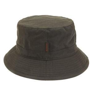 Barbour Mens Wax Sports Bucket Hat Olive Green Waterproof Size S, M, L, XL, XXL