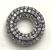 Sterling Silver 925 Lavender Purple Amethyst - CZ Round Cluster Doughnut Pendant