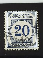 Malayan Postal Union 1951-63 20c P12½ deep blue SGD21a Very Fine Used.