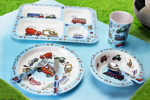 Kids Boys Vehicle Cutlery Dinner Set Mealtime Plastic Bowl Cup Plate Lunch Bag