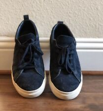 Mens Banana Republic Navy Suede Leather Casual Sneakers Shoes Size: 9.5