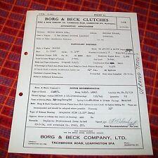 BORG & BECK FRIZIONI Automotive applicazione foglio Morris 5 T N/controllo 1954