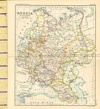 C1860 mappa ~ la Russia in Europa ~ Polonia Kazan ASTRAKHAN Caucaso Finlandia
