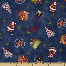 PRIMITIVE RED ROOSTER FABRIC COTTON HUGS & HOLLY ON BLUE 45""