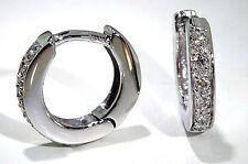 Baby Huggie Earrings 14k White Gold .12 ctw Diamonds Hinged Hoops
