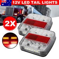 2X Square LED Trailer Tail Lights Kit Stop Indicator Lamp 12V Number Plate Light