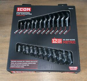 Icon Professional Flex Ratcheting/Wrench Set 12 Pc Metric 8-19mm WRFM-12 NEW