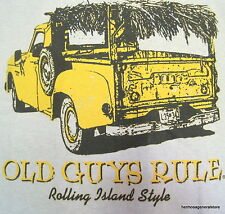 """Old Guys Rule """" Rolling Island Style """" 2XLarge Gray Short SleeveTee Shirt,Cotton"""