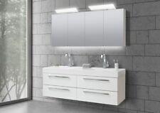 Doppelwaschtisch 160 cm Badmöbel Set mit Unterschrank, Spiegelschrank : Weiß Hoc