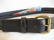 LEATHER MONEY BELT  (BLACK CROC EMBOSS LEATHER)