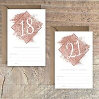 BIRTHDAY INVITATIONS BLANK ROSE GOLD GLITTER PRINT EFFECT 18TH, 21st PACKS OF 10
