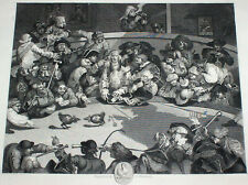 1833 COCKFIGHTING Antique Engraving Hogarth London England Game Fowl Cockpit