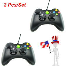USA 2x New Black Wired USB Game Pad Controller For Microsoft Xbox 360 PC Windows