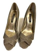 Nina Women Gold Glitter Peep Toe Heels Sz 9.5