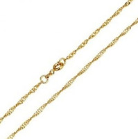"Ladies 22K Yellow Gold GP Twisted Chain Link 18"" Inch 2mm Necklace N14"