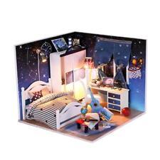 DIY Handcraft Project Kit Dolls House Miniature Bedroom W/ Light Accessories