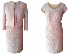 DUSKY PINK MOTHER OF THE BRIDE GROOM OUTFIT 2 PIECE FORMAL JACKET DRESS SIZE 14