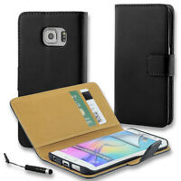 Premium Real Leather Wallet Case Cover for Samsung Galaxy S6 Edge + Mini Stylus