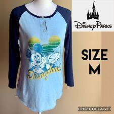 Disney Parks Womens Top Disneyland Mickey Mouse 3/4 Sleeve Henley Raglan Blue M
