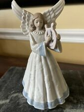 Lladro Porcelain Angel Navidad Figurine Blue Robe Heavenly Harpist # 5830