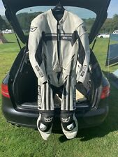 Berik Two Piece Motorcycle Leather Suit, Size 44. White And Black.