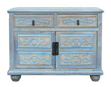 Oriental Floral Shabby Chic Rustic Light Blue High Credenza Cabinet cs1158