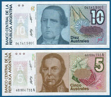ARGENTINIEN / ARGENTINA 5 + 10 Australes UNC P.324/5 b
