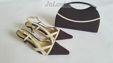 Jacques Vert Shoes & Clutch Bag ~ UK 5 / 38 ~ Umber Range ~ Cream & Brown