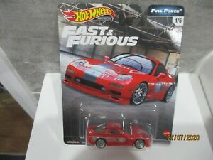 HOTWHEELS FAST & FURIOUS FULL FORCE  95 MAZDA RX7  ALLOYS RUBBER TYRES -