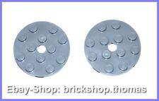 Lego 2 x Platte rund grau 4x4 - 60474 - Plate Light Bluish Gray - NEU / NEW
