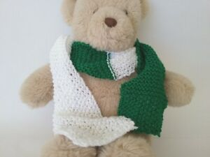 Teddy Bear Clothes, Green and White Hand Knitted Scarf