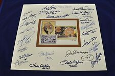 Multi Signed Mat HOF Postcard 25 Autos WILLIAMS * MANTLE * DIMAGGIO * MAYS JSA