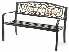 """New Steel Outdoor Patio Garden Park Bench with Cast Iron """"Welcome"""" Backrest"""